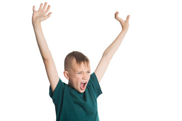 Screaming boy with hands raised