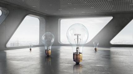 Light bulb in modern office