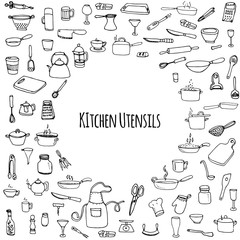 Hand drawn doodle Kitchen utensils set Vector illustration Sketchy kitchen ware icons collection Isolated appliance kitchen tools symbols Cutlery icons Cooking equipment Tea pot Pan Knife Chef hat Cup