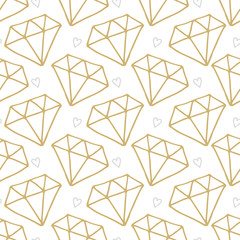 Vector seamless pattern. diamond in doodle style. Hand drawing.