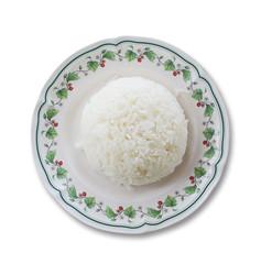 jasmine rice on white Background