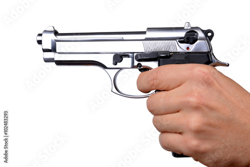 """""""Hand holding gun isolated on white background"""" Stock ..."""