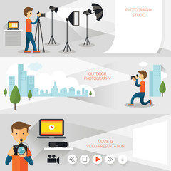 Photographer, Photography Concept Banner, Studio, Outdoor, Movie and Presentation