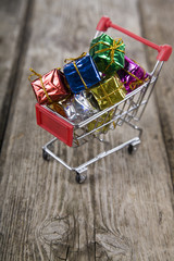 Gift boxes in the shopping cart