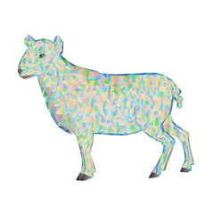 Easter lamb polygons vector
