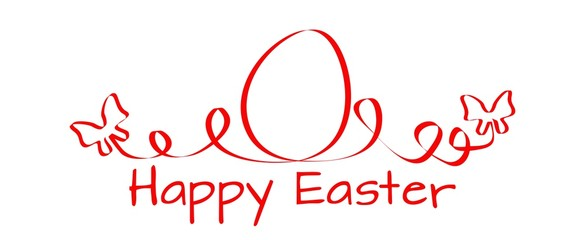 Happy Easter - beautifully curved egg red ribbon with butterflies