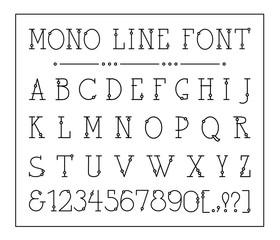 Vector mono line decorative font. Latin alphabet of vintage outline letters