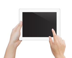 woman hand using digital tablet isolated clipping patch inside i
