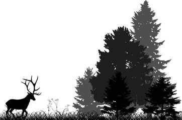 black deer running to forest isolated on white