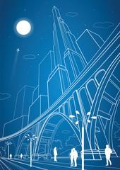 Big bridge, night city on background, vector industrial and infrastructure illustration, vector lines landscape, neon town, vector design art