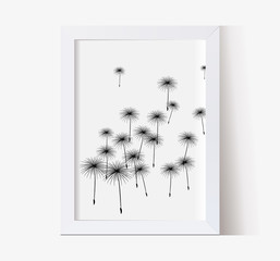 vector frame with shadow multipurpose vertical with dandelions