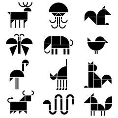 vector black and white animals pictograms
