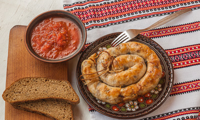 Ring homemade sausage and bread
