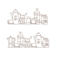 Coffee set of elements. Coffee time