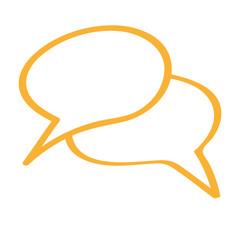 Handgezeichnetes Sprechblasen-Icon in orange