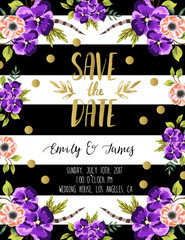 Vintage wedding invitation with flowers. Save the date design.