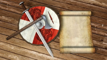 viking shield with sword, axe, parchment scroll on wooden floor
