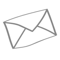 Handgezeichnetes Brief-Icon in grau