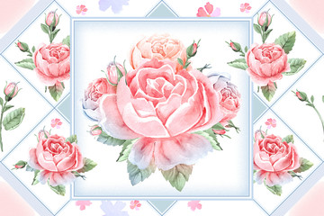 Seamless watercolor floral background. Rose background wallpaper