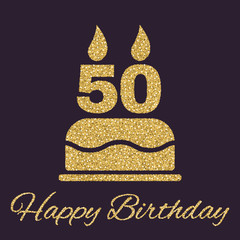 The birthday cake with candles in the form of number 50 icon. Birthday symbol. Gold sparkles and glitter