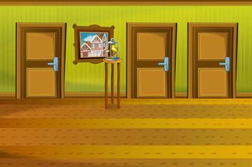Cartoon scene of house interior - hall - illustration for the children