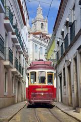 Lisbon. Image of street of Lisbon, Portugal with historical tram.