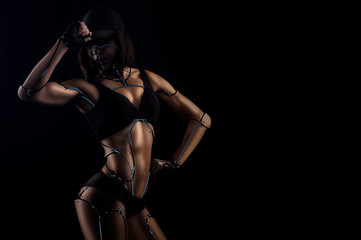 I am a robot. Horizontal shot of a female fitness robot showing off her fit and toned body