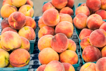 Peaches in Baskets on a Table