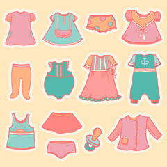 Set of vintage baby clothes