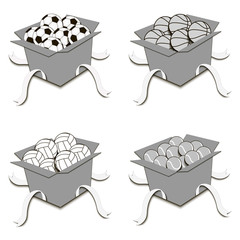 Set of boxes with balls