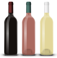 Bouteille de vin rouge rosé et blanc 02