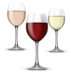 Compo verre vin rouge rosé et blanc