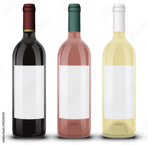 bouteille de vin rouge ros et blanc 01 fichier. Black Bedroom Furniture Sets. Home Design Ideas