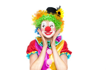 Beautiful young woman as clown
