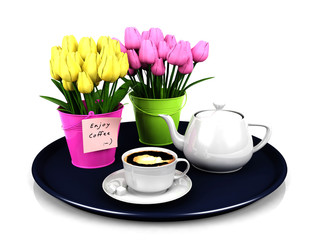 Coffee set with decoration flowers in round plate isolated on white background, 3D render