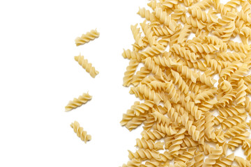 Durum wheat Fusilli pasta group isolated on white background