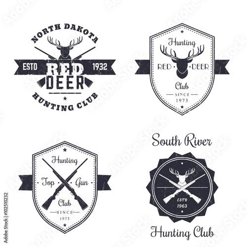Hunting Club Vintage Logo Badges Signs Emblems With Crossed