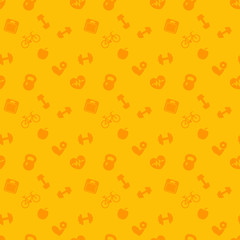 seamless pattern with fitness icons, fitness background, vector illustration
