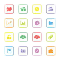 Colorful simple flat icon set 4 with rounded rectangle frame - for web design, user interface (ui), infographic and mobile application