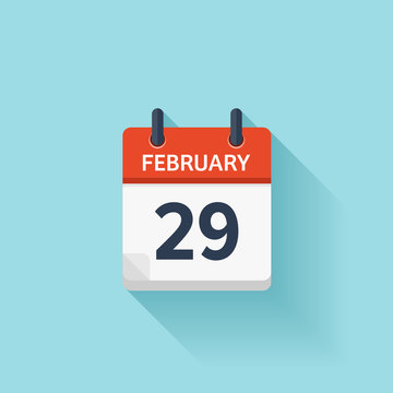 February 29. Vector flat daily calendar icon. Date and time, day, month. Holiday.