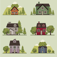 Set of decorative colorful  houses with trees, gardens, mountains.  Vector illustration.