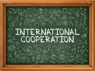 Hand Drawn International Cooperation on Green Chalkboard. Hand Drawn Doodle Icons Around Chalkboard. Modern Illustration with Line Style.