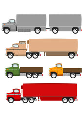 Cartoon truck on the white background. Vector