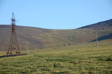 Electric cable line at tundra Chukotka
