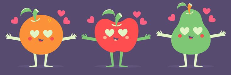 Set of Vector Fruits in Love