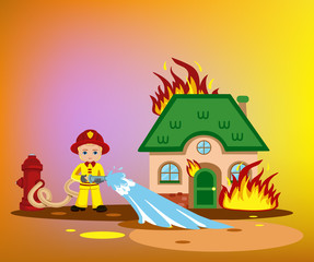 firefighter trying to put out burning house.vector illustration isolated on white background.