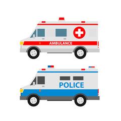 emergency vehicles.ambulance police van police car isolated on white background