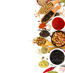 Fragrant seasonings and spices on white background