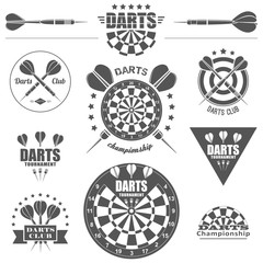 Darts labels and icons set