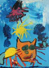 "children's drawing oil paints ""walking cat"", the painter Lucy Pruglo, 6 years old."